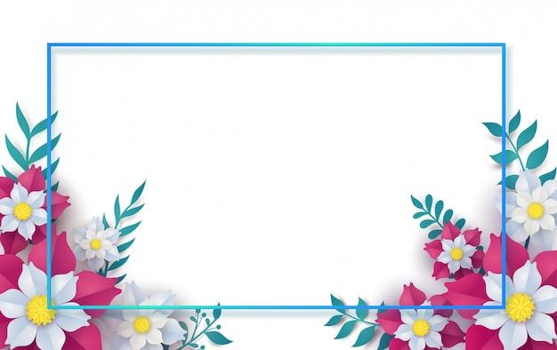 Floral e flor com moldura em design de arte vetorial papel.