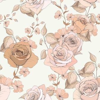 Floral e folhas padrão sem emenda