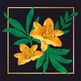 Floral flor dourada folha vintage natureza