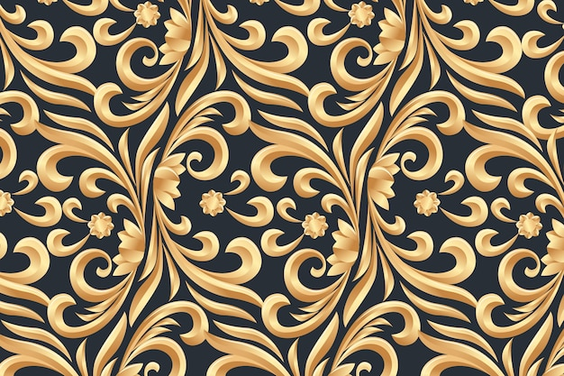 Floral fundo ornamental dourado