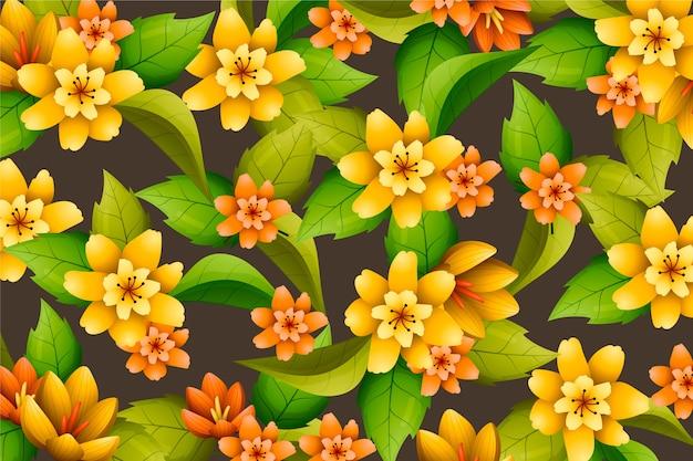 Floral fundo pintado à mão realista