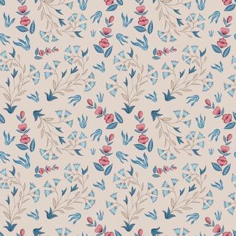 Floral indiano. padrão sem emenda champagne, rosa, azul.