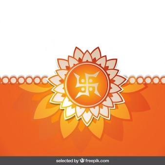 Floral laranja rakhi fundo