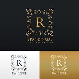 Floral logotipo da beira do quadro do monograma para a letra r