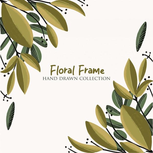 Floral, mão quadro, desenhado, cobrança