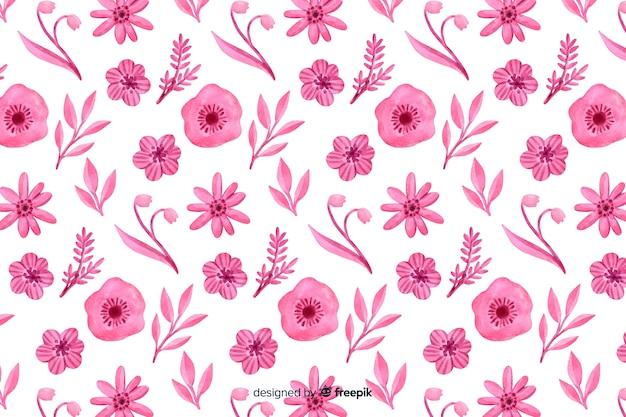 Floral monocromático fundo aquarela