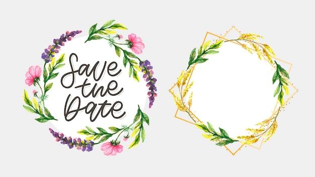 Floral salvar o cartão de data e conjunto de moldura
