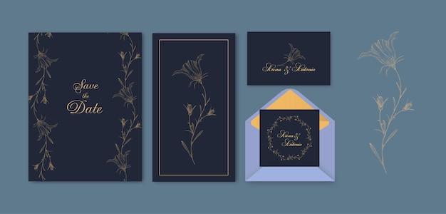 Floral salvar o conjunto de cartão de data