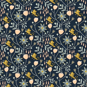 Floral, seamless, padrão, ligado, azul marinho, fundo