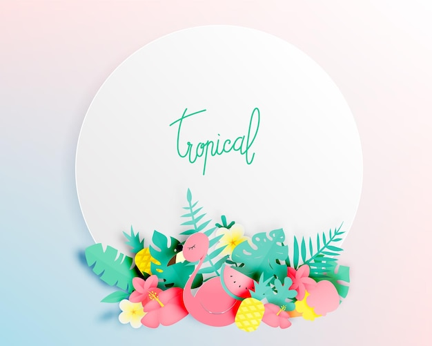 Floral tropical com estilo de arte em papel e cor pastel