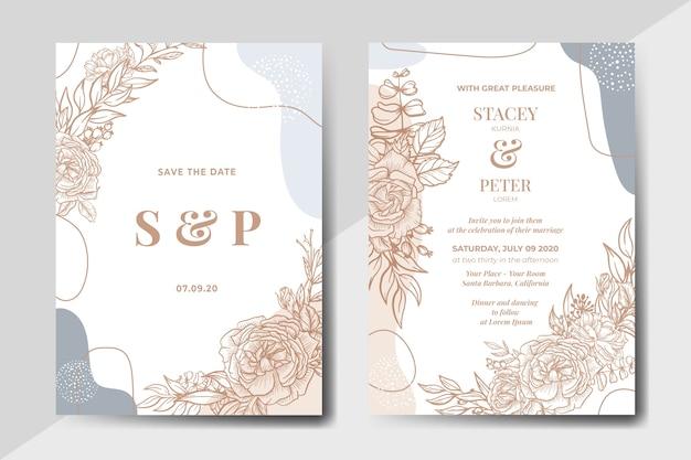 Floral vintage desenhado à mão com cartão de convite de casamento de forma abstrata