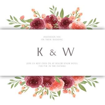 Florals aquarela com borda de quadro de texto