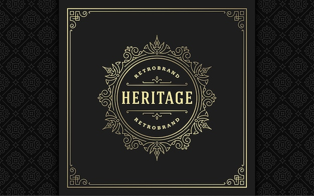 Floreios elegantes de logotipo vintage linha arte ornamentos graciosos estilo vitoriano modelo de design. clássico caligráfico de luxo com crista real heráldica boutique, sinal de hotel ou restaurante e moldura ornamentada