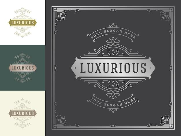 Floreios elegantes de logotipo vintage linha arte ornamentos graciosos modelo de estilo vitoriano.