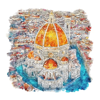 Florença itália esboço em aquarela.