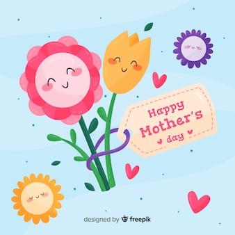 Flores, abraçando, dia mãe, fundo
