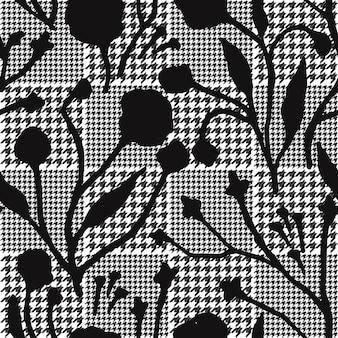 Flores abstratas com padrão de xadrez de dentes de cães.