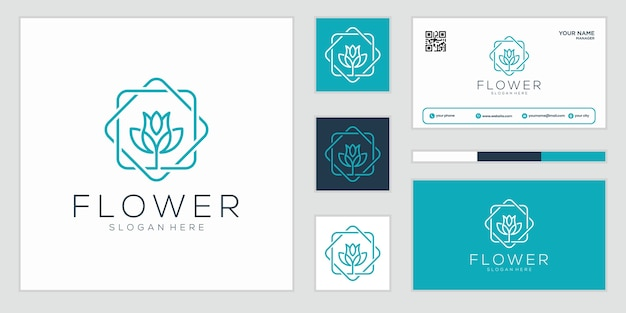 Flores abstratas de luxo que inspiram beleza, ioga e spa. design de logotipo e cartão de visita