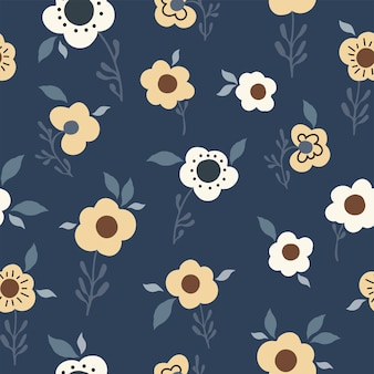 Flores abstratas de padrão floral natural sem costura, folhas de fundo azul escuro. desenhado à mão