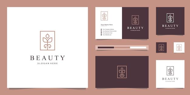 Flores abstratas elegantes inspirando beleza, yoga e spa. design de logotipo e cartão de visita