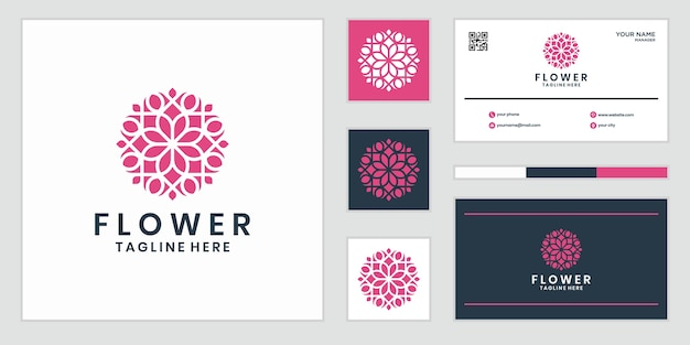Flores abstratas elegantes que inspiram beleza, ioga e spa. design de logotipo e cartão de visita