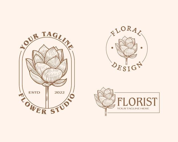 Flores abstratas, sinais de vetor ou modelos de logotipo ilustração floral retrô com tipografia elegante f