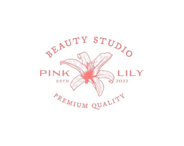 Flores abstratas, sinais de vetor ou modelos de logotipo ilustração floral retrô com tipografia elegante p