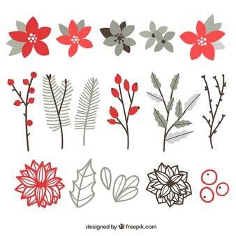 Flores achatado com diferentes estilos