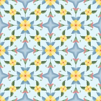 Flores amarelas com padrão sem emenda de forma geométrica. Vetor Premium