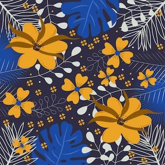 Flores amarelas e folhas tropicais azuis fundo escuro