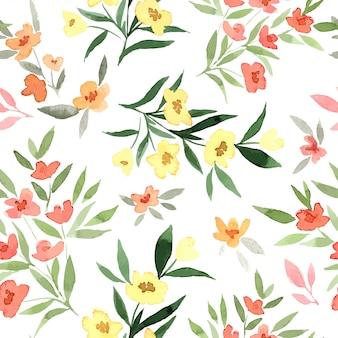 Flores amarelas e vermelhas, pequenos elementos florais, padrão sem emenda