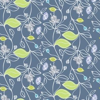 Flores azuis e folhas verdes