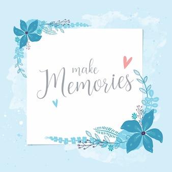 Flores azuis postais