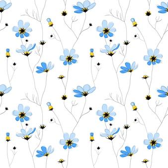 Flores azuis sem costura padrão no fundo branco