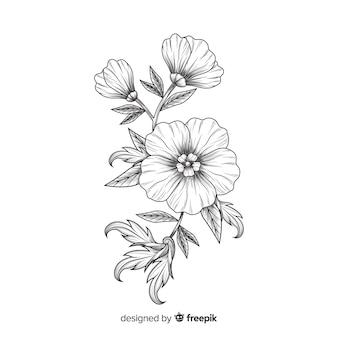 Flores barrocas desenhadas à mão