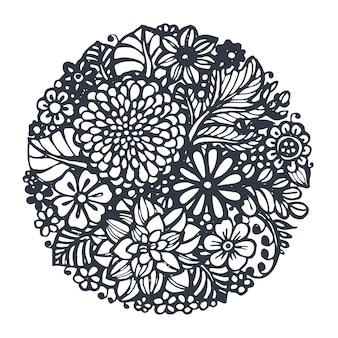 Flores bonitas do vetor e plantas no círculo. ilustração vetorial desenhada à mão em estilo de esboço de doodle