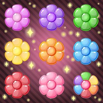 Flores bonitos para jogo de quebra-cabeça. Vetor Premium