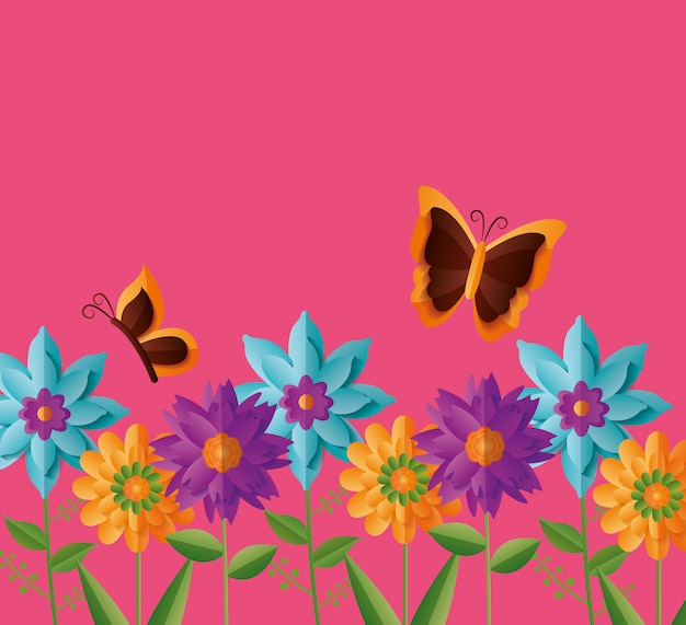 Flores borboletas primavera