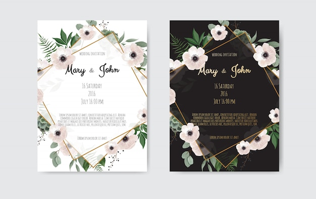 Flores botânicas do projeto do molde do cartão do convite do casamento, as brancas e as cor-de-rosa.