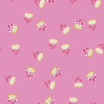 Flores brancas aleatórias moldam o padrão de doodle sem emenda. fundo rosa. impressão decorativa de verão. ilustração vetorial para estampas de têxteis sazonais, tecidos, banners, cenários e papéis de parede.