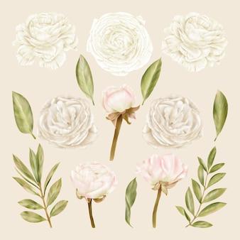 Flores brancas, rosas e folhas verdes