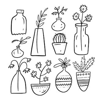 Flores caseiras em vasos doodle conjunto de elementos isolado no branco