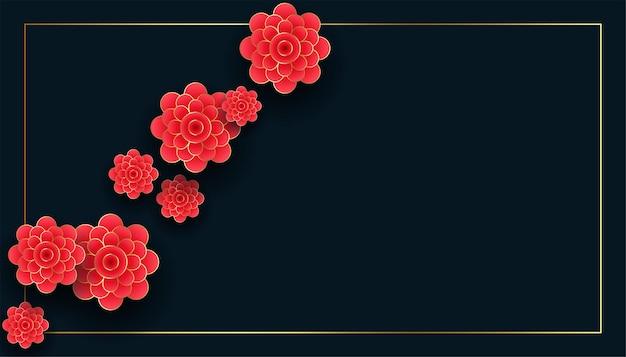 Flores chinesas em fundo preto