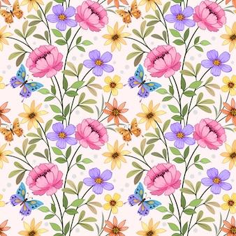 Flores coloridas com padrão sem emenda de borboleta.