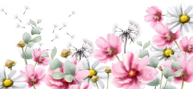 Flores coloridas de verão em aquarela