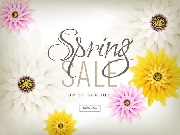 Flores coloridas decoradas cartaz de venda de primavera