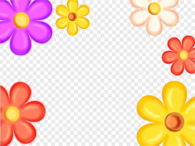 Flores coloridas decoradas em png branco ou fundo transparente com espaço de cópia.