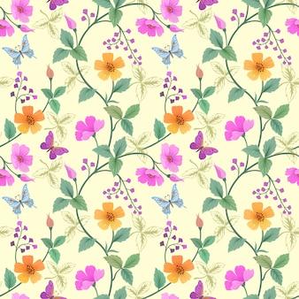 Flores coloridas desenhadas mão e teste padrão de borboleta.