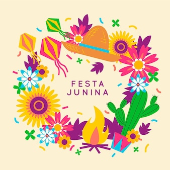 Flores coloridas e cacto design plano festa junina
