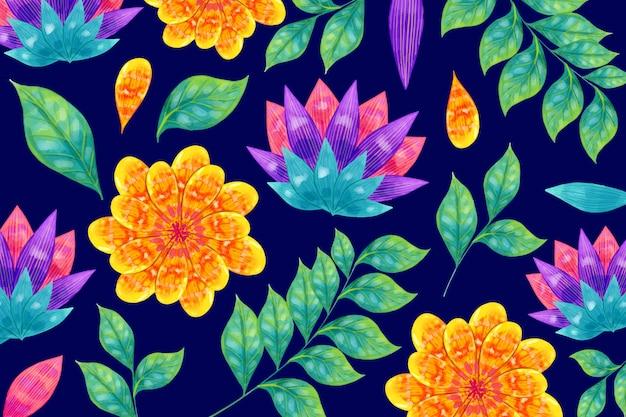 Flores coloridas e folhas tropicais